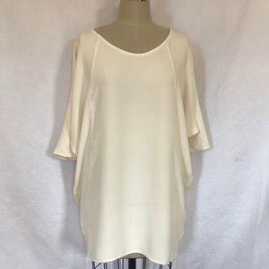 Babaton S Ivory silk dolman sleeve tunic dress EUC